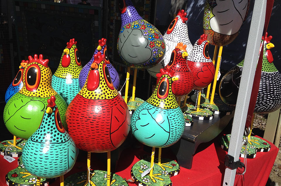 Georgia Mountain Parkway - Display of painted gourd chickens at the Arts in the Park Festival in Blue Ridge, Georgia