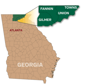 North Georgia counties that are part of the Georgia Mountain Parkway