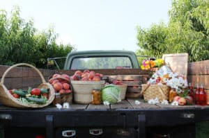 peaches and veggies in back of truck
