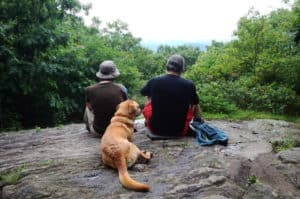 hikers and dog in north georgia