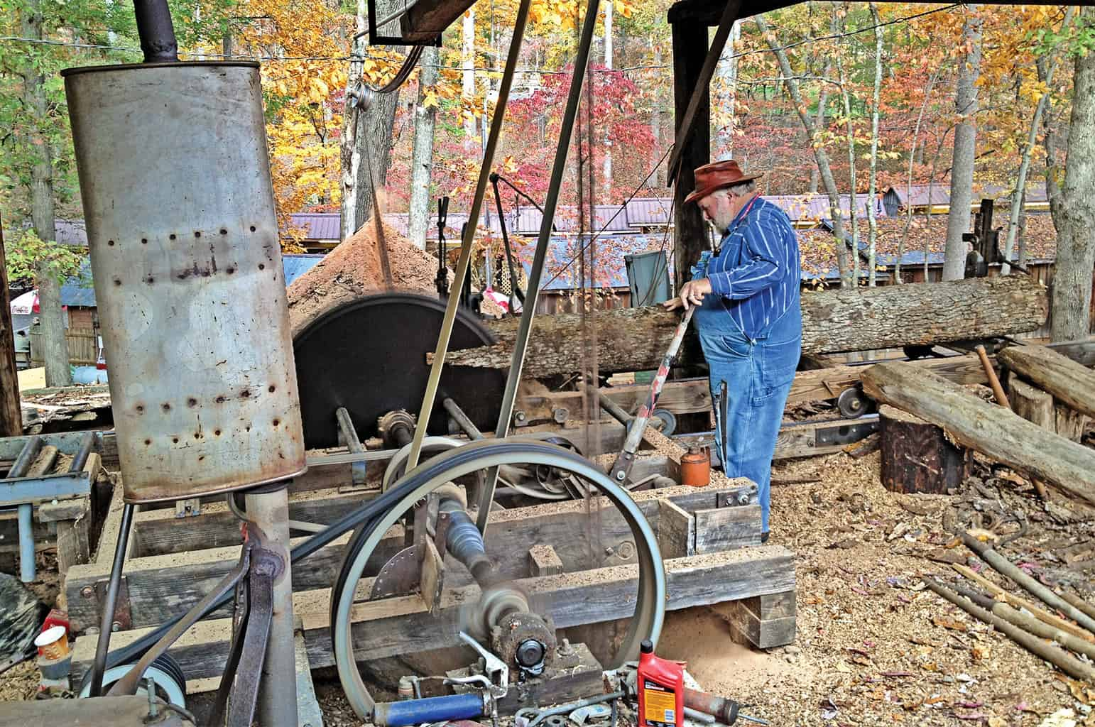 Georgia Mountain Parkway - Old-timey sawmill demonstration at the Georgia Mountain Fall Festival in Hiawassee, Georgia