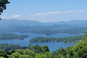 view of lake chatuge and mountains in ga