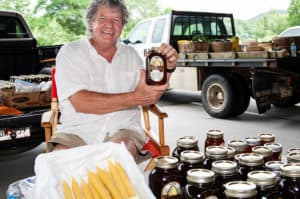 Georgia Mountain Parkway - Fresh bottled honey and beeswax candles are available at the Union County Farmers Market in Blairsville, Georgia