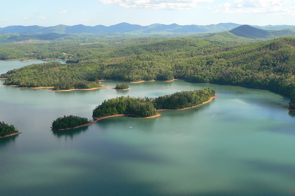 Georgia Mountain Parkway - Aerial view of Lake Nottely in Blairsville, Georgia