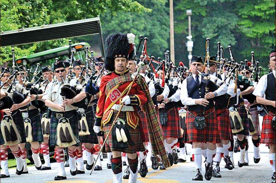 Georgia Mountain Parkway - Scottish clans on parade for the Scottish Festival and Highland Games in Blairsville, Georgia