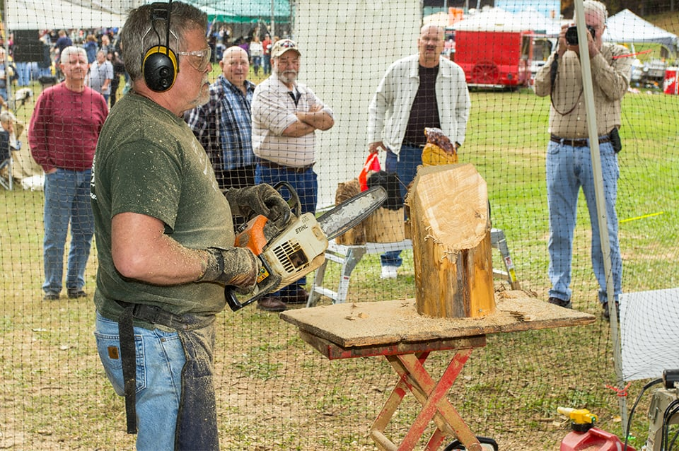 Georgia Mountain Parkway - Chainsaw artist demonstrating his craft at the Sorghum Festival in Blairsville, Georgia