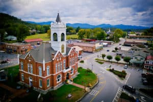 Georgia Mountain Parkway - Aerial view of the historic courthouse and square in Blairsville, Georgia