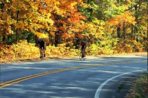 Georgia Mountain Parkway - Bicyclists enjoy the fall colors in Blairsville, Georgia